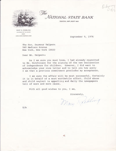 TYPED LETTER SIGNED BY AMERICAN BANKER MARY ROEBLING, FIRST WOMAN PRESIDENT OF A U.S. BANK., Roebling, Mary. (1905-1994). American banker. First woman to serve as president of a major U.S. bank and first woman governor of the American Stock Exchange.