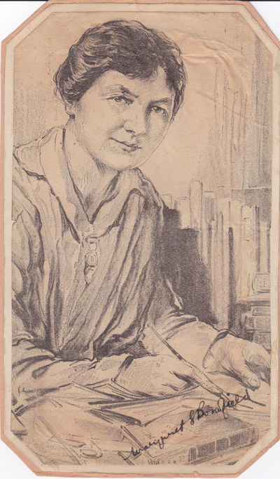 NEWSPAPER PORTRAIT, AFTER A DRAWING, SIGNED BY BRITISH LABOR LEADER AND SUFFRAGIST MARGARET BONDFIELD., Bondfield, Margaret. (1873-1953). British woman prominent in the labor movement and a fighter for women's suffrage.