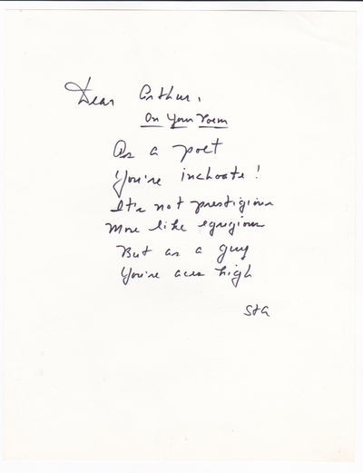 A WITTY AUTOGRAPH MANUSCRIPT POEM SIGNED by VICE PRESIDENT SPIRO AGNEW, commenting on his chief-of-staff's poetical talent., Agnew, Spiro T. [1918-1996]. Governor of Mayland and Vice President of the United States under Nixon. He was forced to resign when indicted for tax fraud.