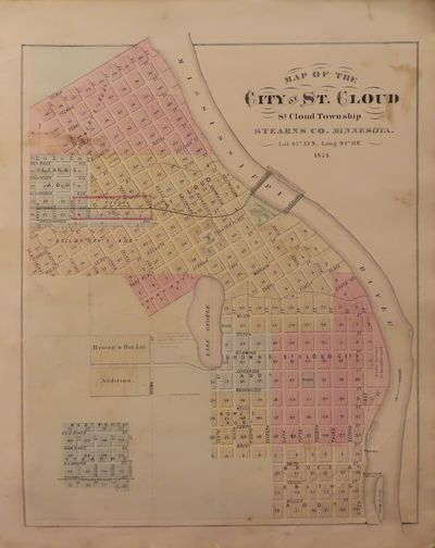 Image for Map of City of St. Cloud 1874 - from Illustrated Historical Atlas of the  State of Minnesota