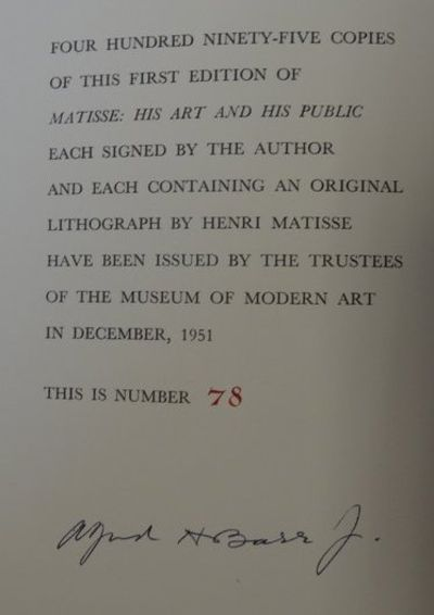 Image for Matisse: His Art and His Public. Limited edition with original lithograph.  In publisher's slipcase.