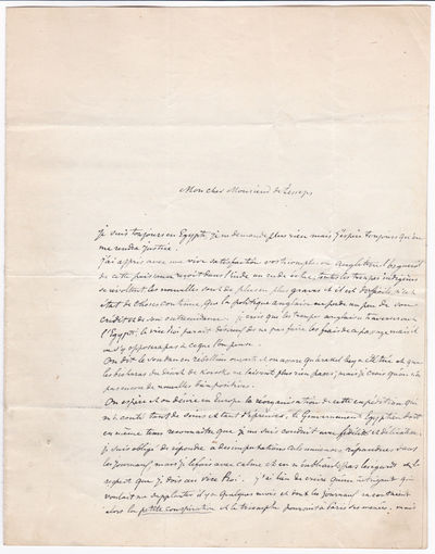 A SUBSTANTIAL 4-PAGE AUTOGRAPH LETTER SIGNED by STANISLAS D'ESCAYRAC DE LAUTURE, MARQUIS D'ESCAYRAC, while on his expedition to discover the source of the Nile, to FERDINAND DE LESSEPS, the developer of the Suez Canal., d'Escayrac de Lauture, Stanislas (Marquis d'Escayrac), (1826-1868). French Explorer, geographer and linguist tasked with finding the source of the Nile.