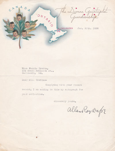 TYPED LETTER SIGNED BY ALLAN ROY DAFOE, M.D., Dafoe, Allan Roy. [1883-1943]. Canadian obstetrician who delivered the Dionne quintuplets.
