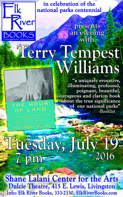 Terry Tempest Williams Poster, 19 July 2016, Williams, Terry Tempest