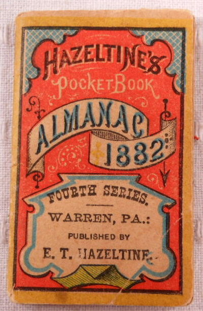 Hazeltine's Pocket-Book Almanac for 1882. Fourth Series, Almanac. Miniature Book. Advertising