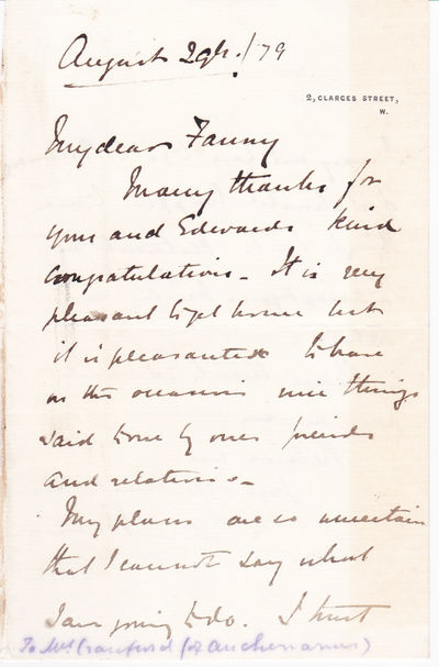 AUTOGRAPH LETTER THANKING HIS COUSIN FOR HER CONGRATULATIONS ON HIS RECEIVING THE VICTORIA CROSS SIGNED BY GENERAL SIR REDVERS BULLER., Buller, General Sir Redvers. (1839-1908). British army officer who was awarded the Victoria Cross for bravery in the Zulu war.