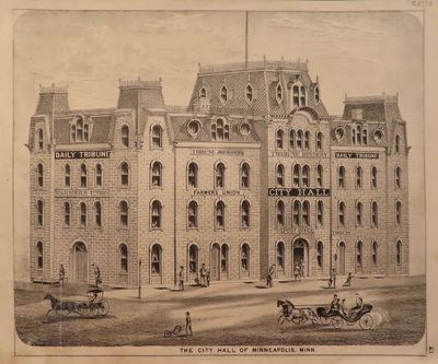 Image for Lithograph of The City Hall of Minneapolis 1874 - from Illustrated  Historical Atlas of the State of Minnesota