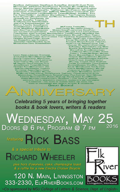 Elk River Books 5th Anniversary Poster, 25 May 2016, Bass, Rick and Richard Wheeler