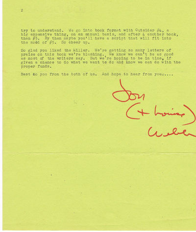 TYPED LETTER SIGNED by JON WEBB, founder, with his wife Louise (Gypsy Lou), of LOUJON PRESS., (Loujon Press). Webb, Jon Edgar. Founder, with his wife Louise (Gypsy Lou), of Loujon Press (1960).