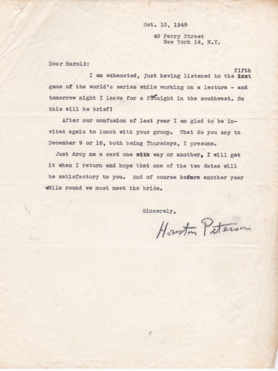 TYPED LETTER TO HAROLD RUGG OF COLUMBIA UNIVERSITY'S TEACHERS COLLEGE SIGNED BY RUTGERS UNIVERSITY PROFESSOR HOUSTON PETERSON., Peterson, Houston. (1897-1981). Professor at Rutgers University who specialized in the philosophy of literature.