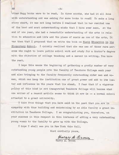 TYPED LETTER TO HAROLD RUGG OF COLUMBIA UNIVERSITY'S TEACHERS COLLEGE SIGNED BY HARRY A. BROWN, SUPERINTENDENT OF SCHOOLS, NEEDHAM, MASS., (Rugg, Harold). Brown, Harry A. Superintendent of Schools, Needham, Mass.