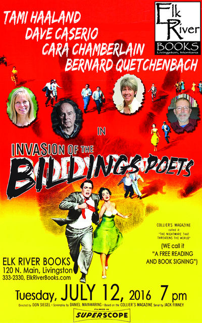 Invasion of the Billings Poets Poster, 12 July 2016, Haaland, Tami, Dave Caserio, Cara Chamberlain and Bernard Quechenbach
