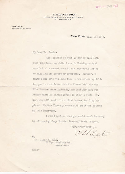 TYPED LETTER SIGNED BY CHARLES H. BOYNTON AT A PIVOTAL MOMENT AFTER THE RUSSIAN REVOLUTION AND DURING WORLD WAR I., Boynton, Charles H. President of the American-Russian Chamber of Commerce.