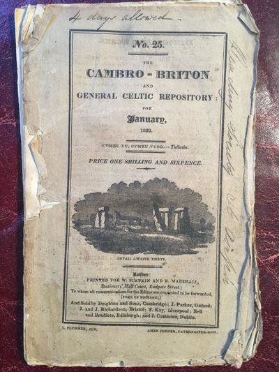 The Cambro-Briton And General Celtic Repository No.25 For January 1822  ORIGINAL1822 PUBLICATION, J. Humphreys Parry