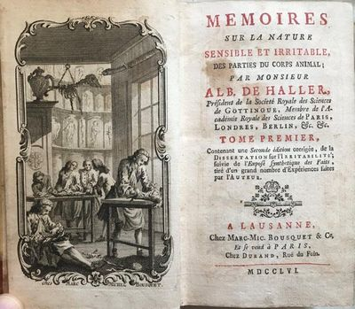 Memoires, sur la Nature Sensible et Irritable, des Parties du Corps Animal…., HALLER, Albrecht von (1708-1777).
