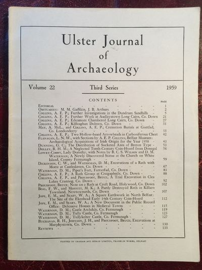 Ulster Journal Of Archaeology Third Series Volume 22 1959 Fine photos of White Island Saint and Warrior Figures, Professor E.E. Evans