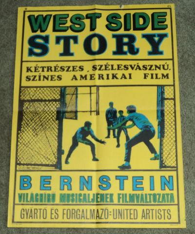 "ORIGINAL HUNGARIAN MOVIE POSTER FOR UNITED ARTISTS' PRODUCTION OF LEONARD BERNSTEIN'S ""WEST SIDE STORY"", (Revesz, Antal; and Wigner, Judit). Bernstein, Leonard"