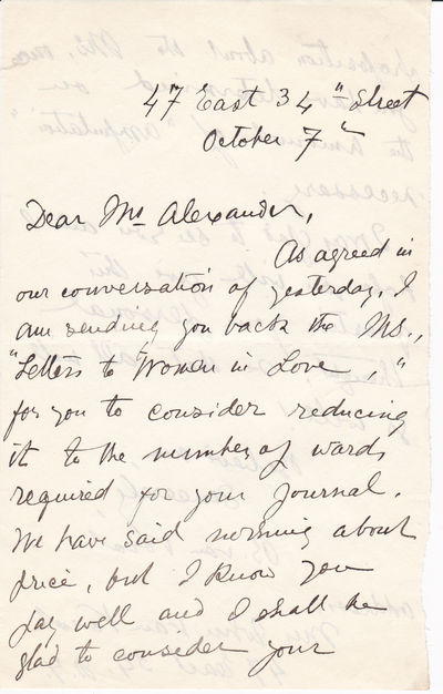 "AUTOGRAPH LETTER TO A MAGAZINE EDITOR ABOUT HER NONFICTION WORK ""LETTERS TO WOMEN IN LOVE"" SIGNED BY AMERICAN WRITER BESSIE VAN VORST."