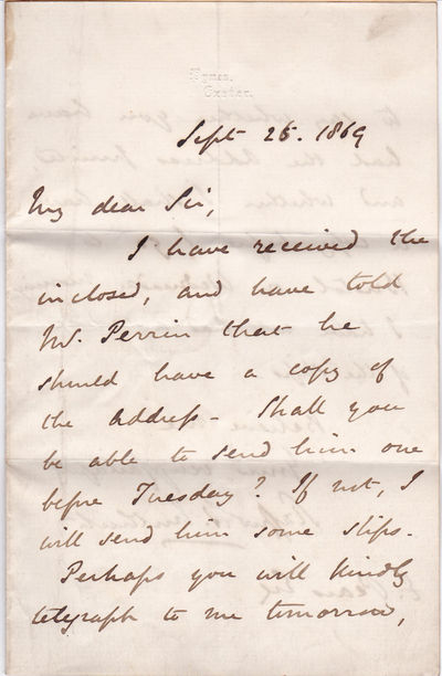 AUTOGRAPH LETTER SIGNED BY BRITISH CONSERVATIVE POLITICIAN STAFFORD NORTHCOTE, 1ST EARL OF IDDESLEIGH., Northcote, Stafford, 1st Earl of Iddesleigh. (1818-1887). British Conservative politician who served as Chancellor of the Exchequer and Foreign Secretary.