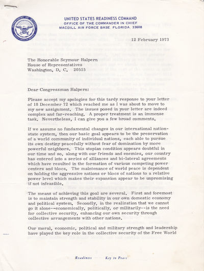 TYPED LETTER ON THE SUBJECT OF WORLD PEACE SIGNED BY U.S. ARMY GENERAL AND COMMANDER IN CHIEF, UNITED STATES READINESS COMMAND,  BRUCE PALMER, JR., Palmer, Bruce, Jr. (1913 -2000). Noted United States Army General who served as Commander in Chief, United States Readiness Command (1973-74).