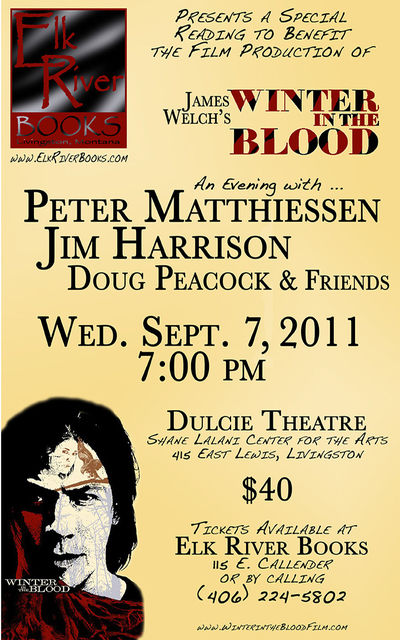 Winter in the Blood Poster (Peter Matthiessen, Jim Harrison, Doug Peacock), 07 September 2011, Matthiessen, Peter, Jim Harrison and Doug Peacock