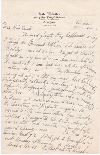 """AUTOGRAPH LETTER SIGNED WITH HER INITIALS BY NOTED WOMAN EXPLORER ROSITA FORBES TO THE SECRETARY OF JAMES POND, LECTURE BUREAU MANAGER. Together with a brochure advertising a """"Town Hall"""" lecture., Forbes, Rosita. (1890-1967). Noted British woman explorer."""
