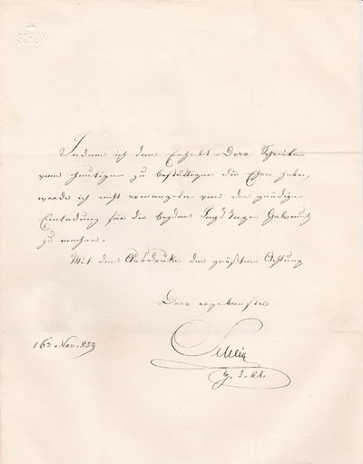 "AUTOGRAPH LETTER TO ""LE COMTE DE GRENEVILLE"" SIGNED BY AUSTRIAN GENERAL FRANZ SCHLIK WITH A BEAUTIFUL EXAMPLE OF HIS SEAL., Schlik, Franz. (1789-1862). General in the Austrian Empire's army known for his successes in the 1848 Hungarian Revolution."