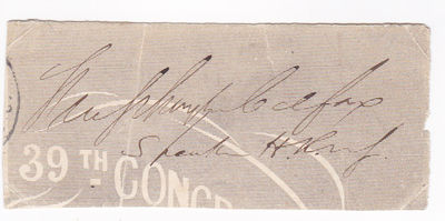 COLFAX, SCHUYLER. (1823-1885). SPEAKER OF THE U.S. HOUSE OF REPRESENTATIVES (1863-1869) AND VICE PRESIDENT OF THE UNITED STATES UNDER ULYSSES S. GRANT (1869-1873). - Cut Franking Signature of Schuyler Colfax As Speaker of the House of Representatives in the 59th Congress.