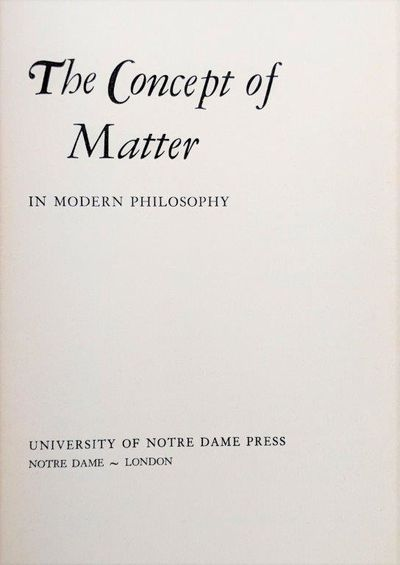 Image for The Concept of Matter in Modern Philosophy.