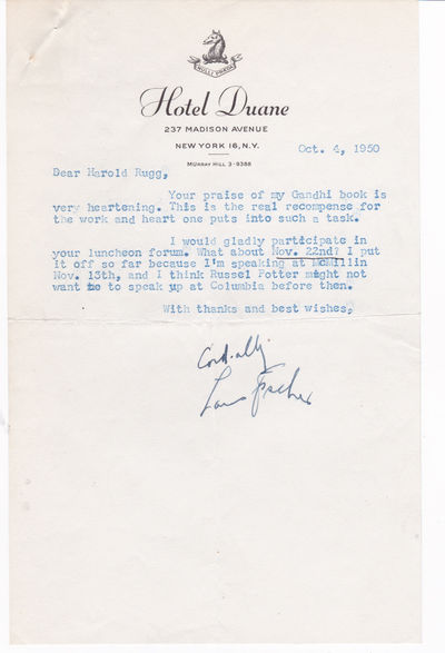 TYPED LETTER TO EDUCATOR HAROLD RUGG SIGNED BY JEWISH AMERICAN JOURNALIST LOUIS FISCHER., Fischer, Louis. (1896-1970). Jewish American journalist and author who worked for The Nation.