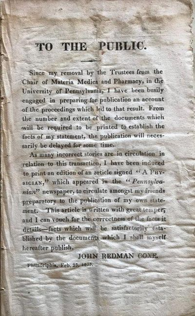 """""""To the Public"""" [with] """"To the Editors of the Pennsylvanian"""" by """"a Physician."""", COXE, John Redman (1773-1864)."""