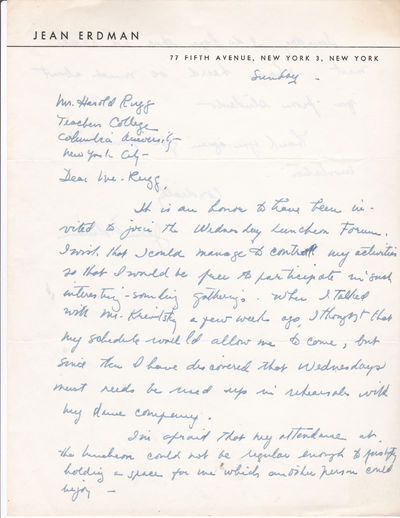 AUTOGRAPH LETTER TO EDUCATOR HAROLD RUGG SIGNED BY MODERN DANCE CHOREOGRAPHER AND AVANT-GARDE THEATER DIRECTOR JEAN ERDMAN., Erdman  Jean. (b. 1916). American dancer, choreographer of modern dance and  avant-garde theater director.