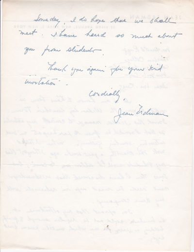 Image for AUTOGRAPH LETTER TO EDUCATOR HAROLD RUGG SIGNED BY MODERN DANCE CHOREOGRAPHER AND AVANT-GARDE THEATER DIRECTOR JEAN ERDMAN.