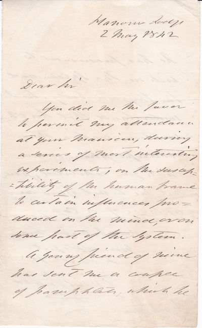 """AUTOGRAPH LETTER concerning a demostration of Hypnotism SIGNED """"DUNDONALD"""" by THOMAS COCHRANE, 10TH EARL OF DUNDONALD, addressed to DR. JOHN ELLIOTSON, who is recognized for his role in promoting Mesmerism and Phrenology and for the introduction of the stethoscope to the UK. TOGETHER with a RARE 1809 PORTRAIT OF LORD COCHRANE., Cochrane, Thomas, 10th Earl of Dundonald (1775-1860). British Admiral, nicknamed """"The Sea Wolf"""" by Napoleon. Dundonald led the rebel Chilean and Brazilian navies during their wars of independence and contributed to Peruvian independence."""