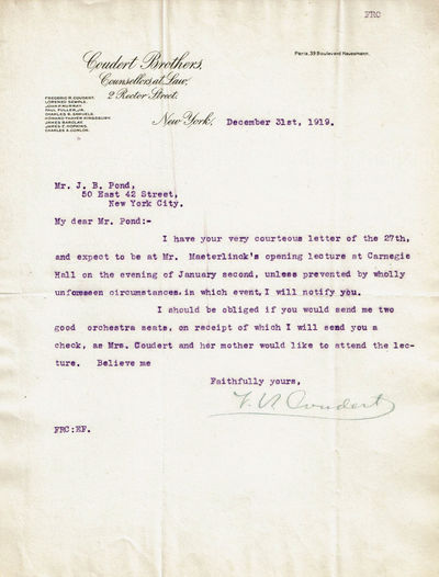 COUDERT, FREDERIC RENE. (1871-1955). AMERICAN LAWYER. SPECIAL ASSISTANT ATTORNEY GENERAL OF THE U,S. AND LEGAL ADVISOR TO THE BRITISH EMBASSY {1915-1920). - Typed Letter to James B. Pond of the Pond Lecture Bureau Signed by American Lawyer Frederic Rene Coudert, Special Assistant Attorney General (1915-1920).
