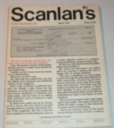 SCANLAN'S MONTHLY. Volume One Number One. March 1970. Editors: Warren Hinckle III, Sidney E. Zion, (Herge). Thompson, Hunter S.; Waugh, Auberon; Stern, Sol; Hecht, Ben; et al)