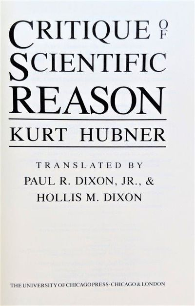 Image for Critique of Scientific Reason. Translated by Paul R. Dixon, Jr. and Hollis M. Dixon.