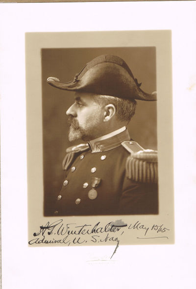 A SUPERB SIENNA-TONED PHOTOGRAPH SIGNED & DATED BY U.S. NAVAL ADMIRAL WINTERHALTER, Winterhalter, Albert Gustav (1856-1920). U.S. Naval Admiral and Commander in Chief of the U.S. Asiatic Fleet from 1915 to 1917
