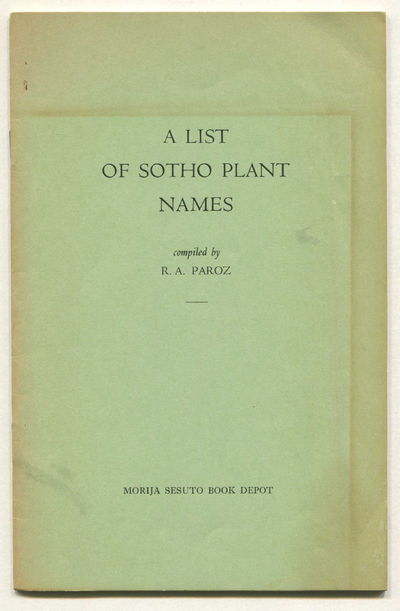 A List of Sotho Plant Names, Paroz, R.A.