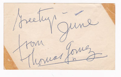 "SLIP OF PAPER INSCRIBED AND SIGNED BY THOMAS GOMEZ., Gomez, Thomas. (1905-1971). American actor, the first Hispanic American nominated for an Academy Award (""Ride the Pink Horse"", 1947)."