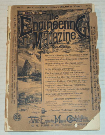 THE ENGINEERING MAGAZINE; Devoted to Industrial Progress. Vol. IV. No. 6. March, 1893., (Griffin, Henry A.; Hazen, H.A.; Gribble, Theodore Graham; et al). Dunlap, John R.; editor.
