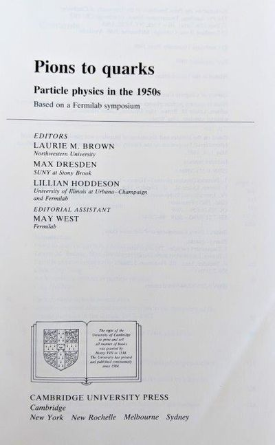 Image for Pions to Quarks; Particle physics in the 1950s.