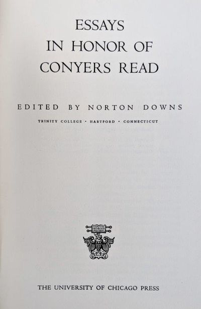 Image for Essays in Honor of Conyers Read.
