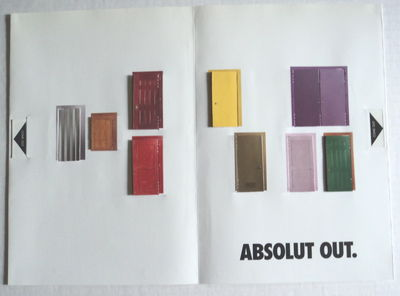"""ABSOLUT OUT. [A 4-page ad spectacular for """"National Coming Out Day""""]., (Absolut)."""