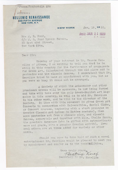 TYPED LETTER TO IMPRESARIO JAMES B. POND SIGNED BY VASSOS KANELLOS'S SECRETARY, TOGETHER WITH THE PROGRAM FOR A PERFORMANCE BY HIS COMPANY AT CARNEGIE HALL., Kanellos, Vassos. Greek dancer whose choreography was inspired by Ancient Greece and the style of Isadora Duncan.