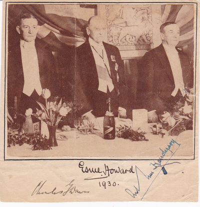 MAGAZINE PORTRAIT OF NOBEL PEACE PRIZE WINNERS CHARLES DAWES  AND  ARTHUR HENDERSON AND BRITISH AMBASSADOR TO THE U.S. ESME HOWARD, SIGNED BY ALL THREE., Dawes, Charles G. (1865-1951); 30th Vice President of the United States, co-recipient of the 1925 Nobel Peace Prize. Howard, Esme, 1st Baron Howard of Penrith (1863-1939); British Ambassador to the United States. Henderson, Arthur (1863-1935); British Lab